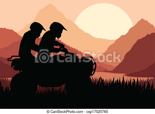 All terrain vehicle quad motorbike rider background - csp17020760