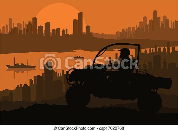 All terrain vehicle quad motorbike rider background - csp17020768