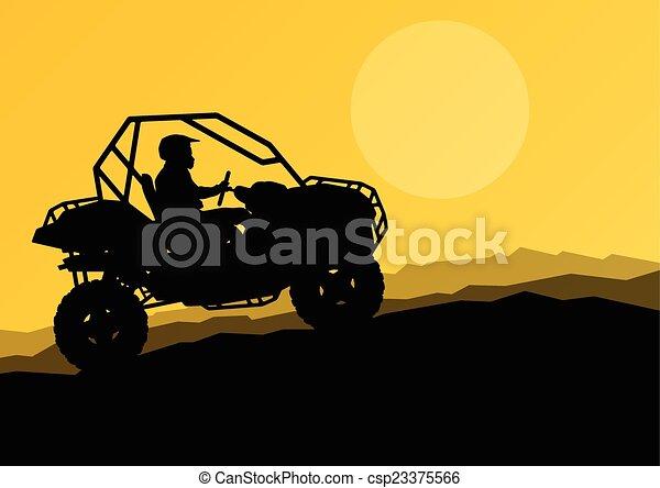 All terrain vehicle quad motorbike rider in wild nature backgrou - csp23375566