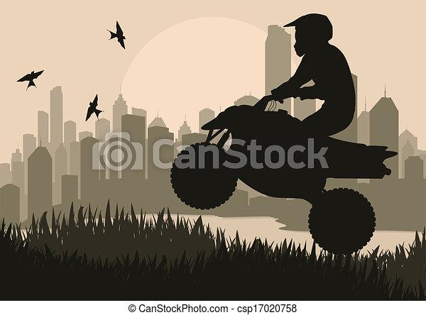 All terrain vehicle quad motorbike rider background - csp17020758