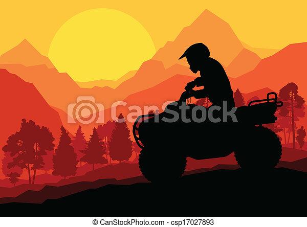 All terrain vehicle quad motorbike rider vector background - csp17027893