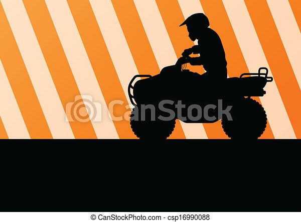 All terrain vehicle quad motorbike rider vector - csp16990088