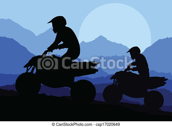 All terrain vehicle quad motorbike rider background - csp17020649