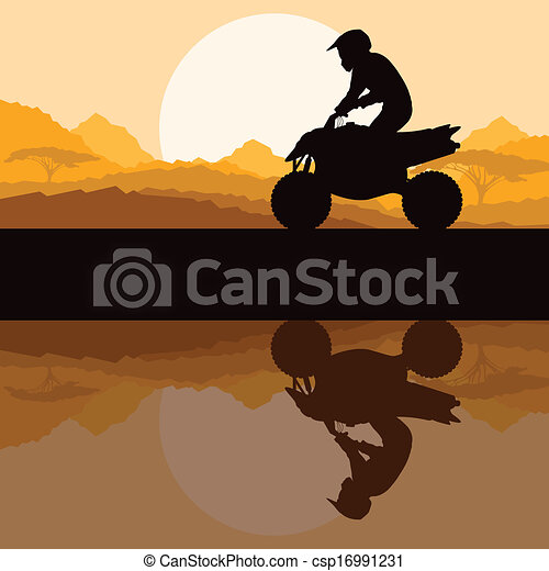 All terrain vehicle quad motorbike rider in wild nature - csp16991231