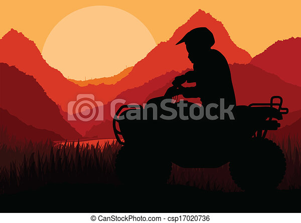 All terrain vehicle quad motorbike rider background - csp17020736