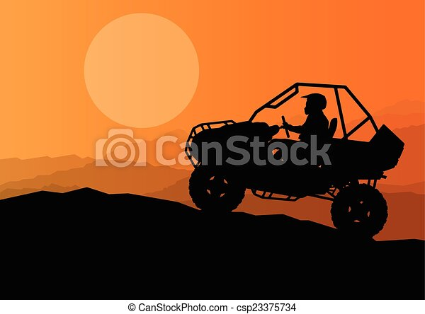 All terrain vehicle quad motorbike rider in wild nature backgrou - csp23375734