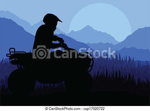 All terrain vehicle quad motorbike rider background - csp17020722