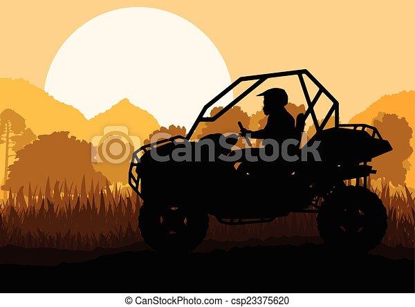 All terrain vehicle quad motorbike rider in wild nature backgrou - csp23375620