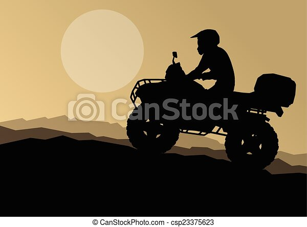 All terrain vehicle quad motorbike rider in wild nature backgrou - csp23375623