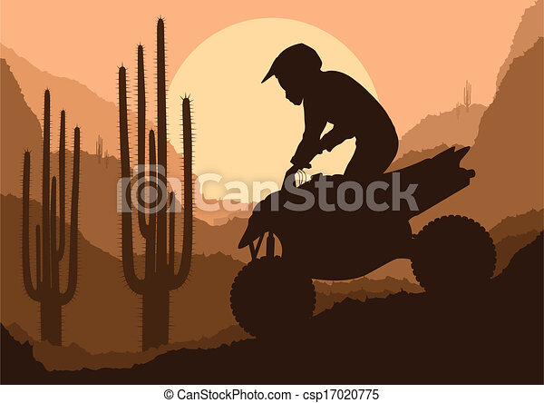 All terrain vehicle quad motorbike rider background - csp17020775
