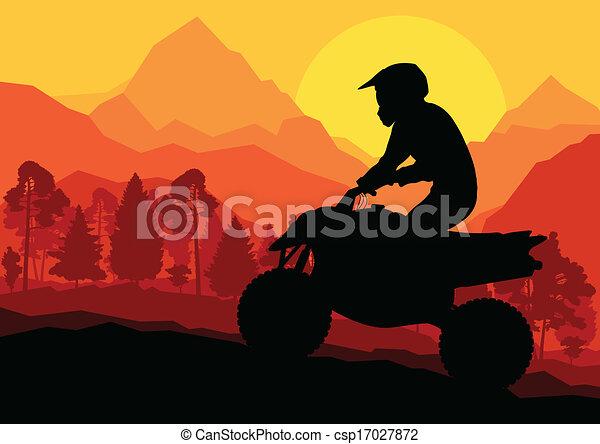 All terrain vehicle quad motorbike rider vector background - csp17027872