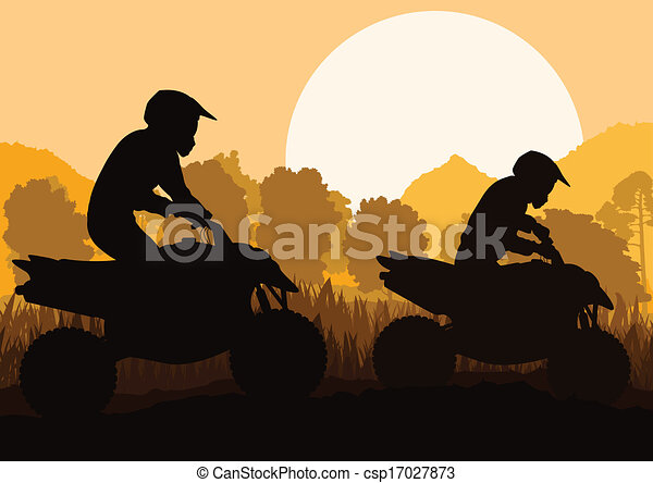 All terrain vehicle quad motorbike rider vector background - csp17027873