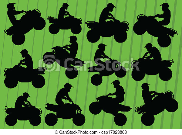 All terrain vehicle quad motorbikes and dune buggy riders - csp17023863
