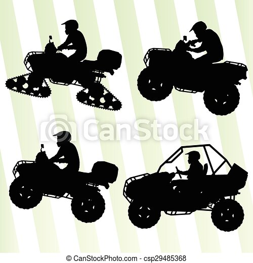 All terrain vehicle quad motorbikes and dune buggy riders illustration collection background vector - csp29485368
