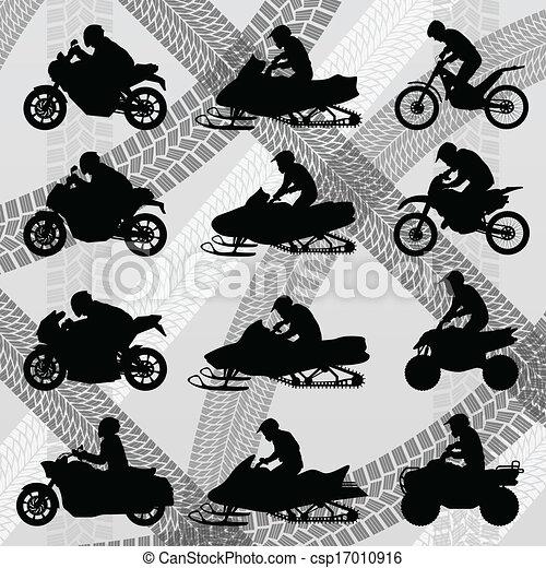 All terrain vehicle quad motorbikes and dune buggy riders illust - csp17010916