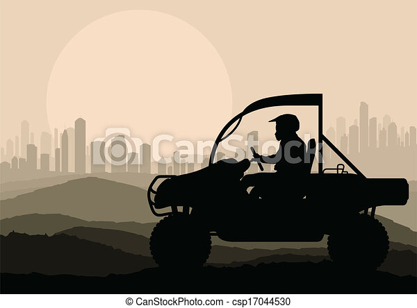 All terrain vehicle rider background vector - csp17044530