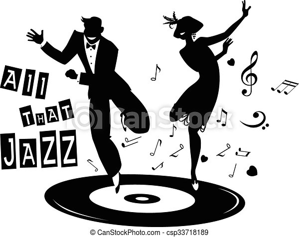 All That Jazz Black Vector Silhouette Of A Couple Dressed