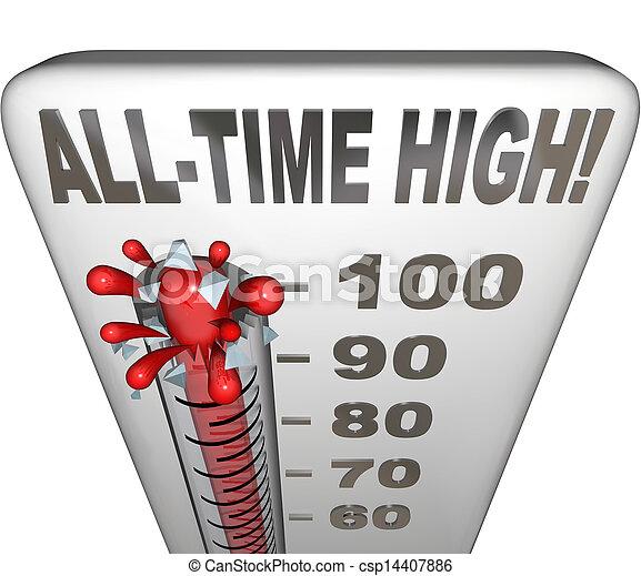Anotación de calor de termómetro de rompe récords - csp14407886