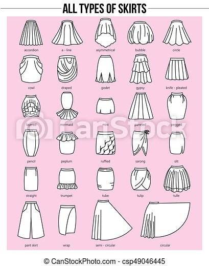 all types of skirts in pink eps set of different types of skirts on