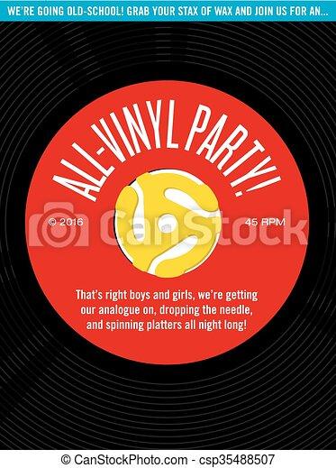 All-Vinyl Record Party Invitation - csp35488507