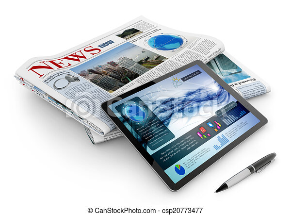 alledaags, pen, krant, tablet - csp20773477