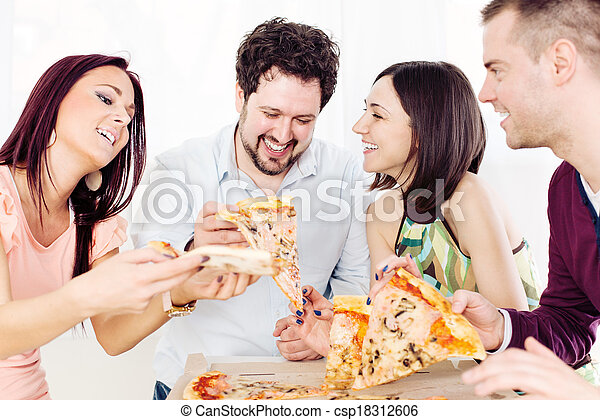 allegro, amici, consumo pizza - csp18312606