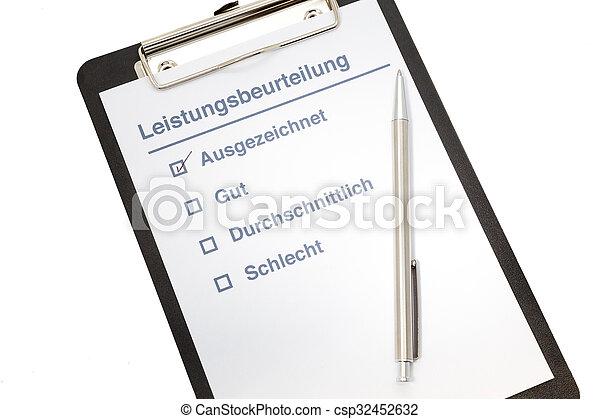 allemand, performance, presse-papiers, évaluation - csp32452632