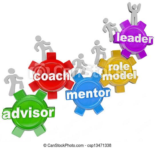 allenatore, condurre, mentore, consigliere, lei, ottenere, mete - csp13471338