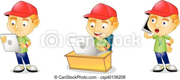 allenatore, laptop, vettore, arte - csp40106208