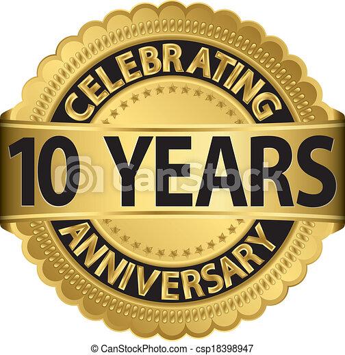 aller, célébrer, anniversaire, 10, années - csp18398947