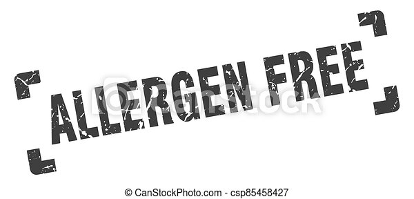 allergen free stamp. square grunge sign isolated on white background - csp85458427