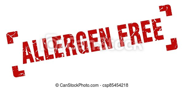 allergen free stamp. square grunge sign isolated on white background - csp85454218