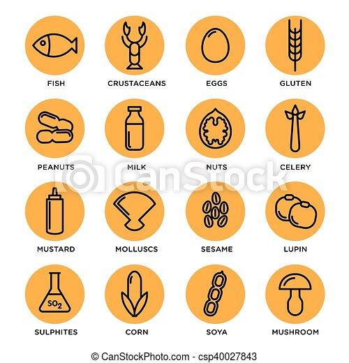 Allergen icons set collection - csp40027843