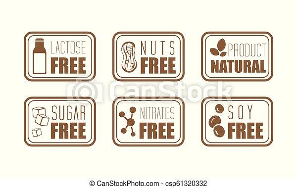 El vector tiene 6 etiquetas de advertencia. Lactosa común, nueces, azúcar, nitratos y soja. Producto natural - csp61320332