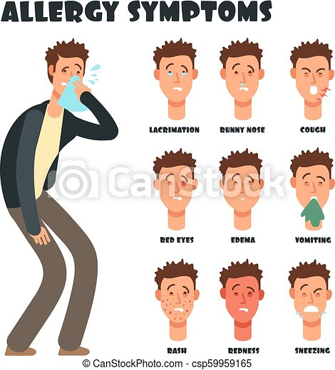 Allergy symptoms with sneezing cartoon man  Medical vector illustration