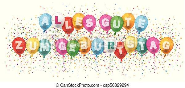 Alles Gute Geburtstag Banner Colored Balloons Confetti Explosion