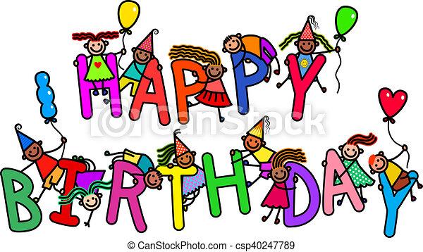 Alles Gute Geburtstag Kinder Gruppe Worter Alphabet Aus