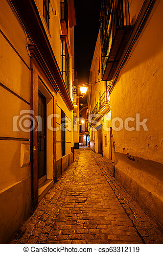 alley at night in the old town of Seville, Spain - csp63312119