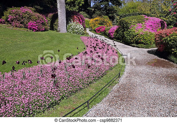 alley in historic garden - csp9882371