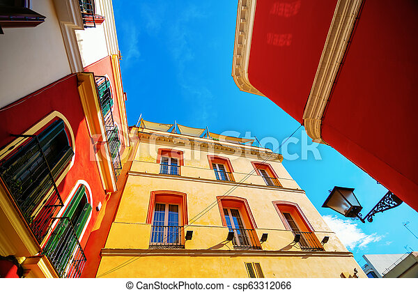 alley in the old town of Seville, Spain, in high angle view - csp63312066