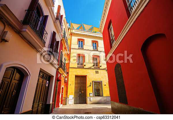 alley in the old town of Seville, Spain - csp63312041