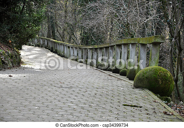 Alley perspective with stone pavement in the park - csp34399734