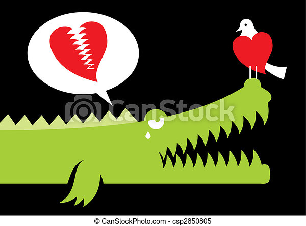 Alligator in love vector - csp2850805