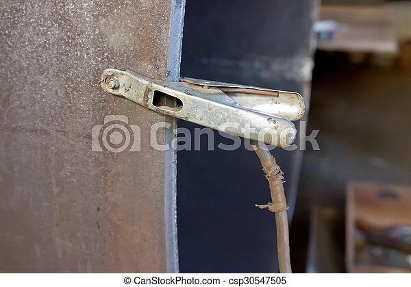 Alligator, leitung clip, kabel, negativ. Koerper, draht, kabel ...