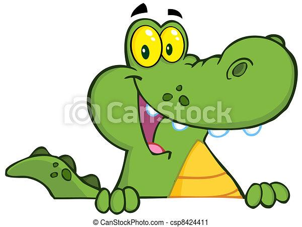 Alligator Or Crocodile Over A Sign - csp8424411