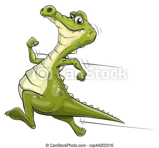 Alligator running vector art - csp44202316