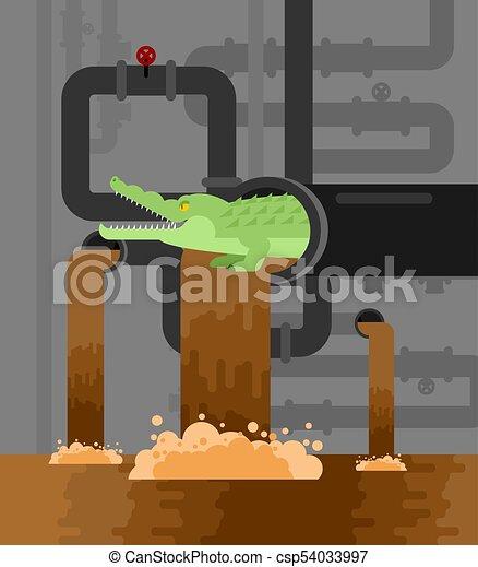 Alligator sewerage. Crocodile in sewer. Predator animal. City legend. Vector illustration - csp54033997
