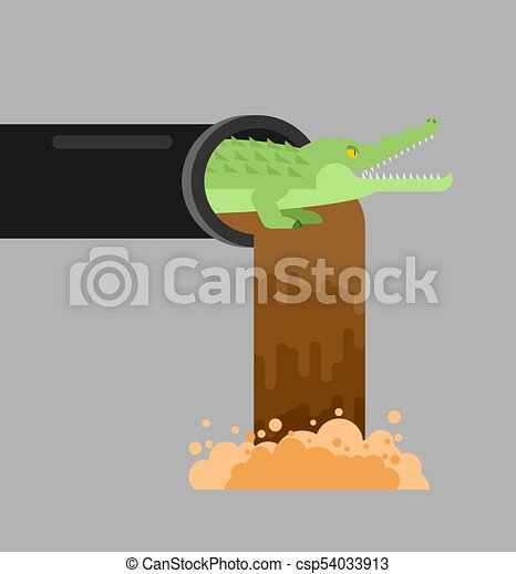 Alligator sewerage. Crocodile in sewer. Predator animal. City legend. Vector illustration - csp54033913