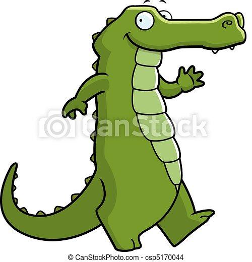 alligator walking a happy cartoon alligator walking and smiling