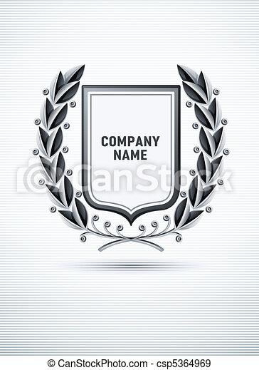 alloro, araldico, ghirlanda, emblema - csp5364969